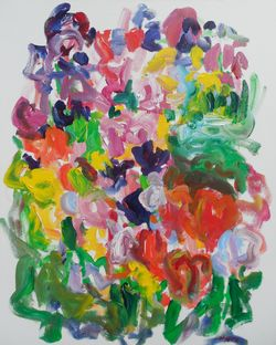 Susan Marx, Tulip Bed (2014), 30x24, acrylic on canvas