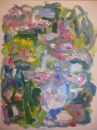 Susan Marx, Giverny, Water Lilies from the Bridge 7pm , 052615, 30x24, acrylic on canvas-001