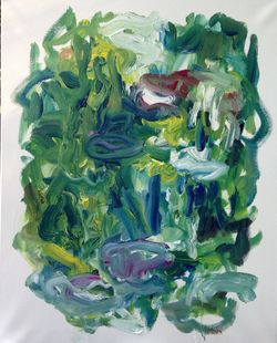 Susan Marx, Giverny, Monet's Pond from the bridge at 7am. May 2015, 30x24 acrylic on canvas