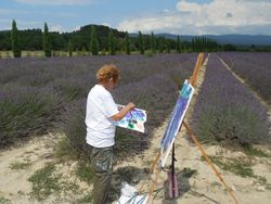 Susan Painting in Lavender Fields