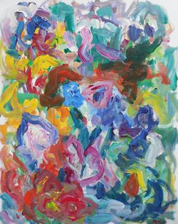 Susan Marx, Carnival of Flowers, (2014), 30x24, acrylic on canvas