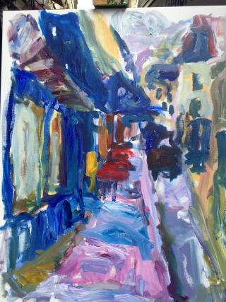 Painting of Paris Street Scene